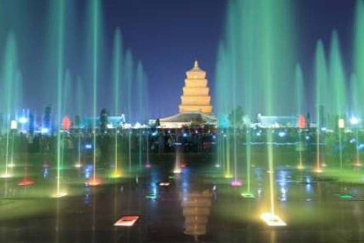 The big wild goose pagoda music fountain in xi 'an